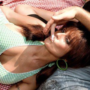 Chesty girlfriend Sarah Sunshine having big boobs felt up outdoors