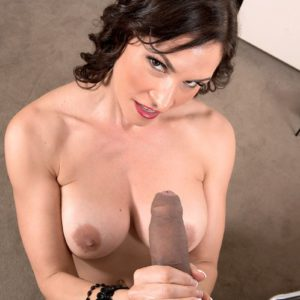 Busty over 40 MILF Raven LeChance jerking off a cock for cumshot