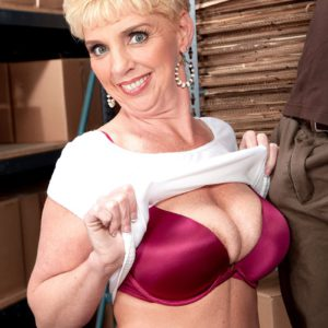 Busty short haired MILF over 40 Taylor Lynn teasing younger man