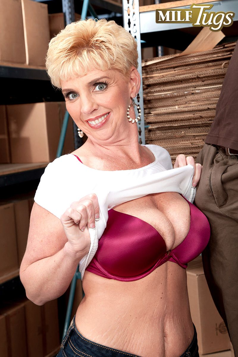 Busty short haired MILF over 40 Taylor Lynn teasing younger man. «
