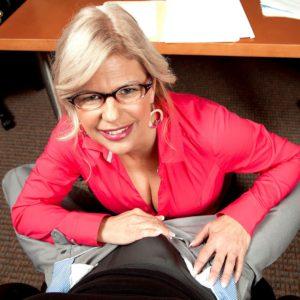 Older blonde Miss Deb delivering CFNM handjob to thick dick