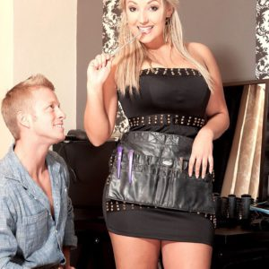 Busty blonde wife Krystal Swift whips out large natural juggs for hubby