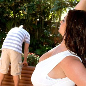 Big boobed beauty Maria Moore letting huge hooters loose outdoors