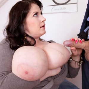 BBW Anna Beck jerking cock and facesitting a man