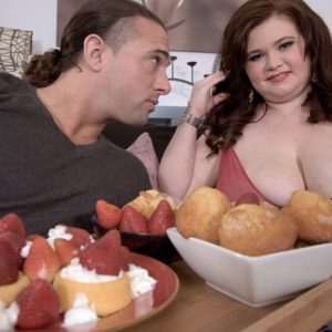 BBW Savana Blue enjoying being fed food before fucking