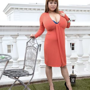 Chubby Asian solo model P-Chan flashing upskirt panties outdoors