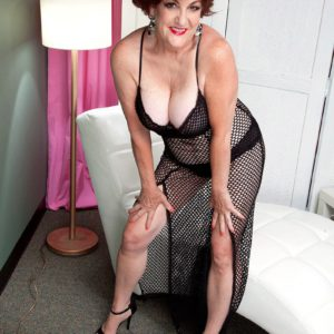 Over 60 MILF Gabriella LaMay striking sexy poses in mesh dress