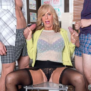 Busty blonde granny Phoenix Skye jerking off two cocks at once