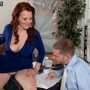 Over 60 MILF Katherine Merlot is stripped naked for office sex
