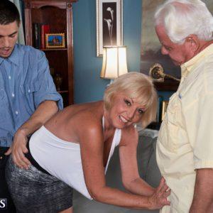 Naughty 60plusmilf.com model Scarlet Andrews fucks in front of cuckold hubby