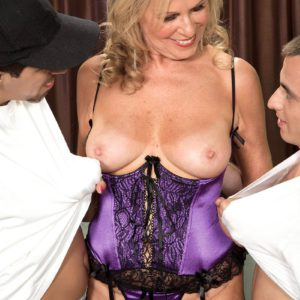 Over 60 MILF Bethany James jerking off two cocks in sexy lingerie