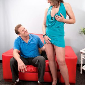 Mature woman Donna Davidson is strip naked by younger man
