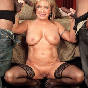 60+ MILF Luna Azul getting fucked by two large black dicks in MMF threesome