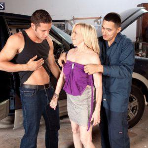 Over 60 MILF Miranda Torri getting fucked by two men in MMF threesome