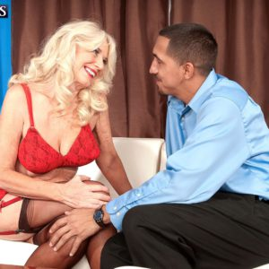 Over 60 MILF Summeran Winters removing stockings for sex with younger man