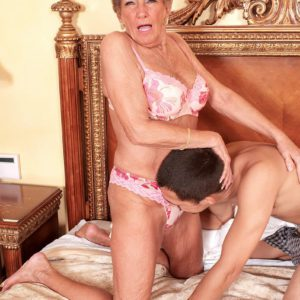 Over 70 GILF Sandra Ann and younger man give each other oral sex