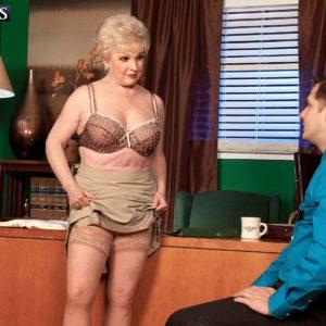 Granny in tan stockings