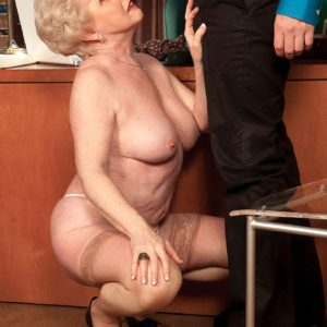 Over 60 granny Jewel taking doggystyle fucking on top of desk