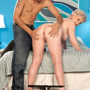 Over 60 granny Jewel receiving cunt licking from younger stud