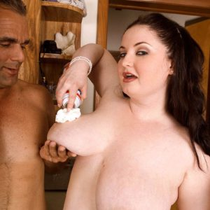 Chesty feeder Monique L'Amour tit fucking an older man's cock