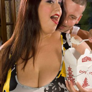 Buxom BBW Rikki Waters likes some Chinese food with her blowjob