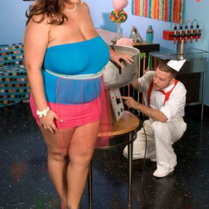 Fatty Rose Valentina eating cotton candy while tit fucking long cock