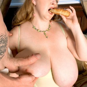BBW Sapphire having a feed of pancakes while sucking cock