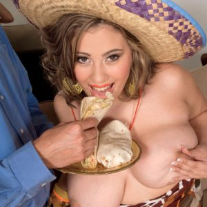 Buxom beauty Selena Castro and her big hanging juggs feeding