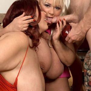 Buxom BBW Shugar and Peaches LaRue feeding on bananas and cock