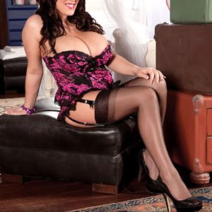 Big tit babe model Leanne Crow posing topless in nylons, garters and high heels
