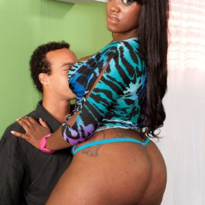 Big booty adorned black chick Aaliyah Envy flaunting big brown ass