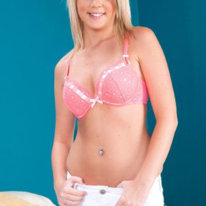 Young blonde girl Alexis Adams stripping naked for nude modeling debut