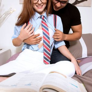 Petite redheaded schoolgirl Alice Green greets bf in glasses for sex in bedroom