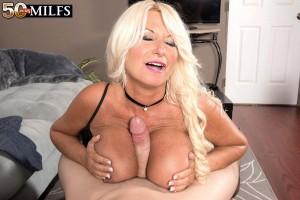 Leggy blonde 50 plus MILF Annellise Croft tit fucking big cock with large boobs