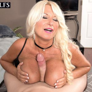 Leggy blonde 50 plus MILF Annellise Croft tit fucking big cock with large boobs