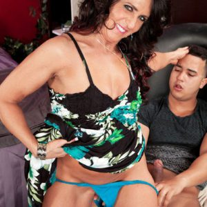 Over 50 MILF Azure Dee jerks a fat cock before doggystyle fucking