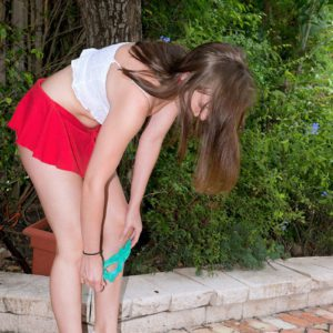 18 year old amateur Charli Maverick stripping off teen girl panties outdoors