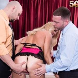 Hot MMF threesome sex with blonde over 50 MILF Chery Leigh