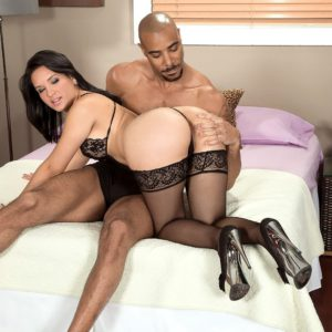 Stocking and high heel garbed PAWG Cici Love getting frisky during interracial foreplay