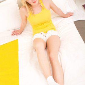 18 year old blonde teener Ellie baring perfect teen breasts