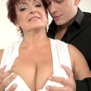 Short haired 50 plus lady Jessica Hot taking doggystyle cock from younger man