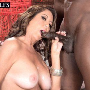 Over 50 MILF Karen DeVille giving BBC an interracial blowjob