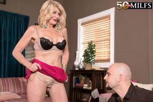 Hot 50 plus blonde woman Kendall Rex jerking fat younger man cock