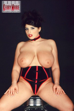 Chubby brunette babe Kerry Marie flaunting large all natural tits