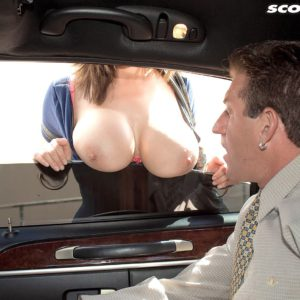 Busty chick Kianna Dior gives older man blowjob in limo for money