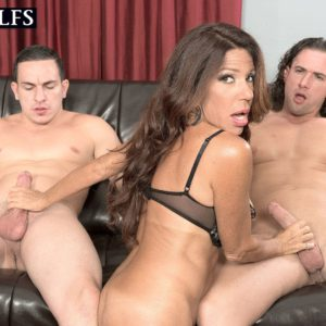 Busty over 50 MILF Layla LaMora giving large cocks blowjobs in MMF threesome