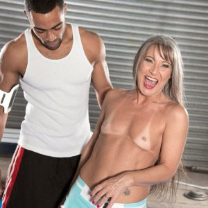 Over 50 MILF Leilani Lei giving black cock interracial blowjob in shorts