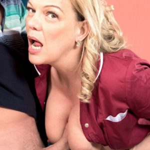 Hose adorned over 50 blonde MILF Lena Lewis giving bj before tit fucking cock