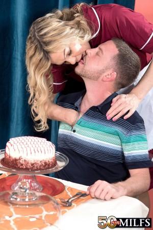Hose adorned over 50 blonde MILF Lena Lewis giving bj before tit fucking cock