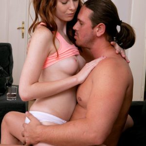 Barefoot barely legal redhead Linda Sweet taking cock in teen pussy